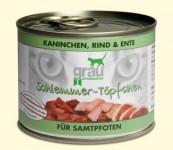Grau Schlemmer-Töpfchen  Kaninchen, Rind & Ente 1x 200g  Dose Kaninchen, Rind & Ente