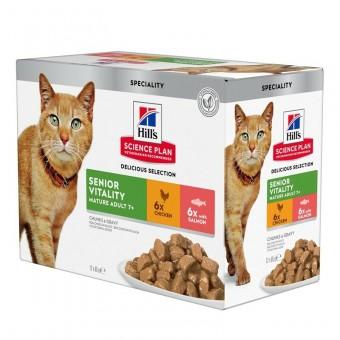 Hills Science Plan Feline Senior Vitality Mature Adult 7+ Frischebeutel Huhn & Lachs