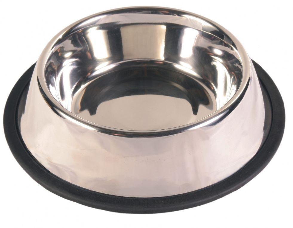 Edelstahlnapf mit Gummiring 0,9 l / 23 cm Durchmesser