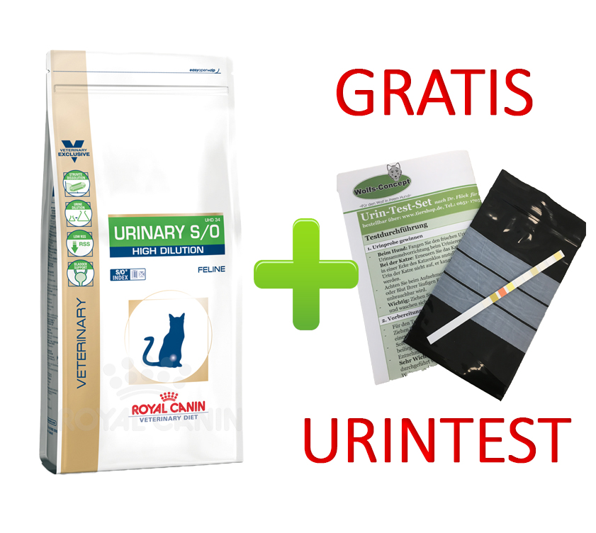 Royal Canin Urinary S/O High Dilution + Urintest 7 kg (Katze)