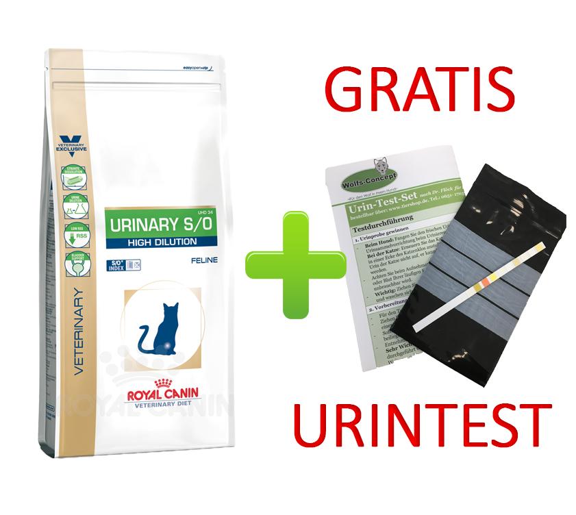Royal Canin Urinary S/O High Dilution + Urintest 7 kg (Katze)