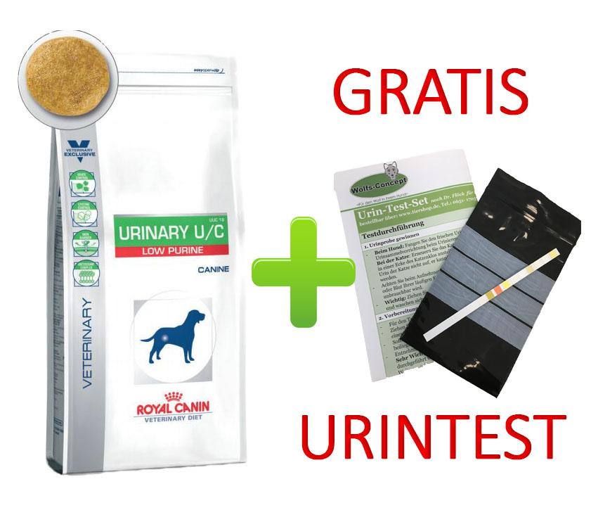 Royal Canin Urinary U/C Low Purine + Urintest 14 kg (Hund)